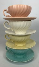 SET OF 4 Vintage CUPS & SAUCERS FRANCISCAN WARE CORONADO SWIRL 4 Colors ... - $29.70