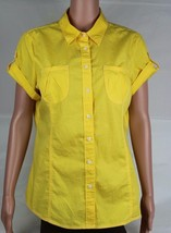 Tommy Hilfiger women's blouse top yellow cotton short sleeve size L/G - $18.99