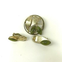 Vintage Whiting and Davis Clip On Earrings and Pin Brooch Set Jewelry Gr... - $24.70