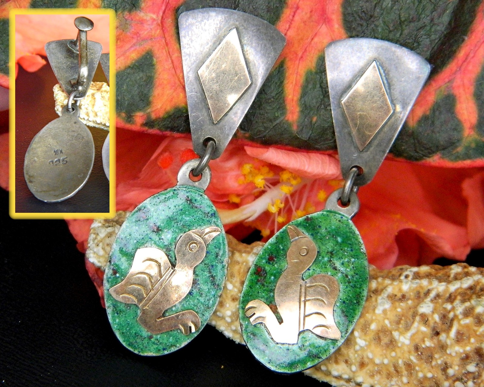 Vintage mexico bird earrings mixed metals dangle 925 sterling silver