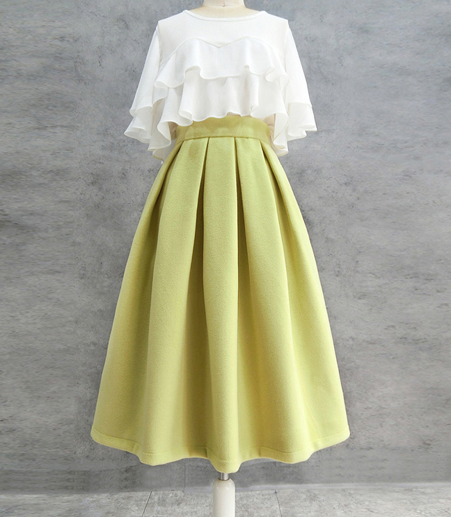 A-line High Waisted Winter Midi Party Skirt Wool-blend Midi Skirt Lime Green
