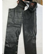 Black Interstate Leather Motorcycle Chaps Size XL Made for Long Hauls Ne... - $94.99