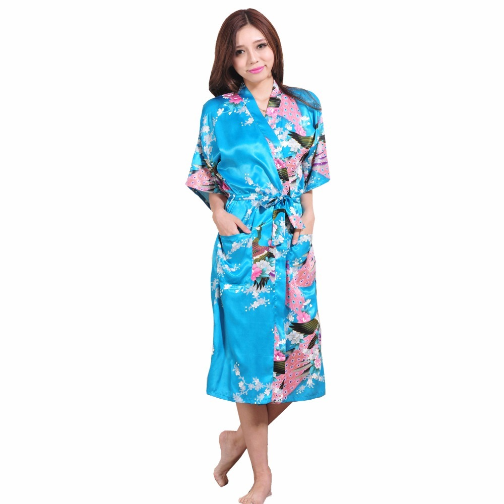 Size xxxl blue chinese female silk rayon robe kimono night gown printed  peacock floral sleepwear e415095b80fa
