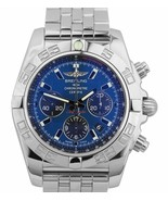 MINT Breitling Chronomat 44mm Stainless Steel Blue AB0110 Chronograph Watch - $3,893.83