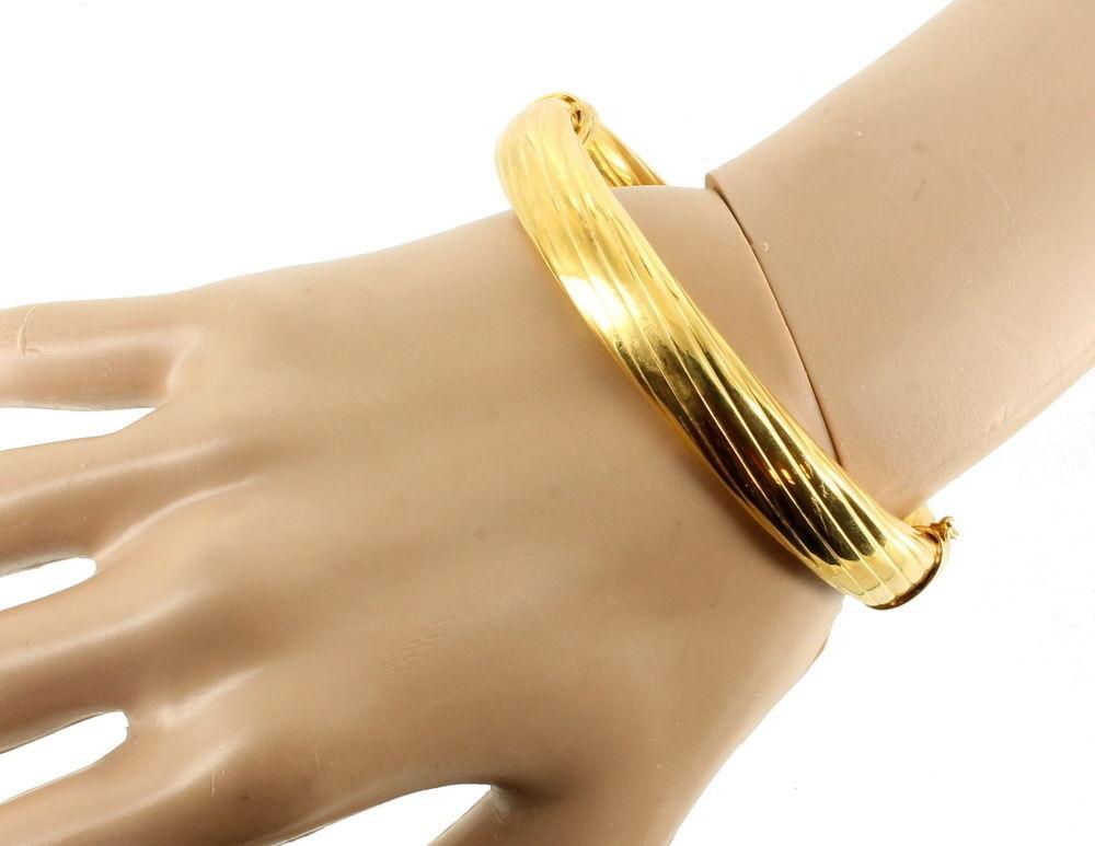 "VINTAGE STERLING GOLD VERMEIL 11MM THICK SUBSTANTIAL BANGLE BRACELET ITALY 7"""