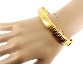 "VINTAGE STERLING GOLD VERMEIL 11MM THICK SUBSTANTIAL BANGLE BRACELET ITALY 7"" image 4"