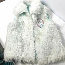 New Girls Disney Frozen Faux Fur Vest Size Medium 7 Costume Top Accent image 5