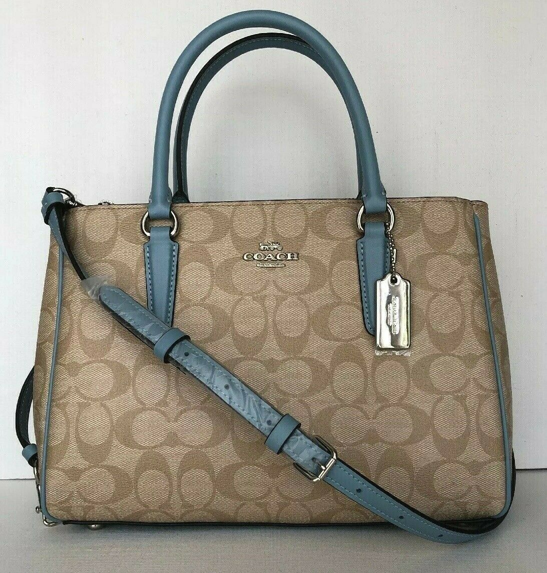 New Coach 67026 Surrey Carryall Tote Coated Canvas handbag Lt. Khaki Cornflower
