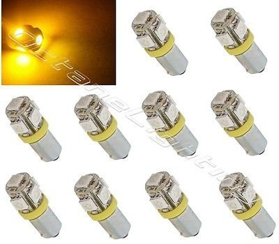 Primary image for OCTANE LIGHTING (10) Yellow Amber 5-Led Dash Panel Cluster Gauge Clock Glove Box