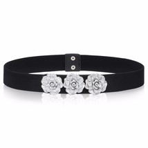 Women Ladies Girls Belt Black Elasticated Stretchable Tea Flowers Party ... - ₨777.90 INR