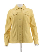 Denim & Co Lamb Leather Button Jean Jacket Pockets Sunlight Yellow L NEW... - $139.57
