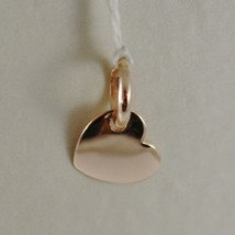 18K ROSE GOLD MINI PINK HEART CHARM PENDANT, FLAT SMOOTH SHINY MADE IN ITALY image 1