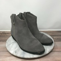 Michael Kors Ashton Gray Leather Button Tab Ankle Boots Womens Size 7.5 - $44.95
