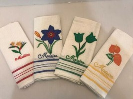 VINTAGE MADEIRA LINEN Kitchen TOWELS FLORAL APPLIQUE EMBROIDERY Set Of 4 - $26.96
