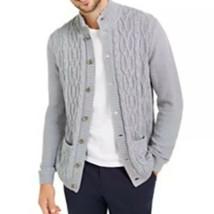 Men's Tasso Elba Cable Knit Cardigan Grey Heather 2XL - $49.95