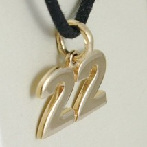 18K YELLOW GOLD NUMBER 22 TWENTY TWO PENDANT CHARM .7 INCHES 17 MM MADE IN ITALY image 2