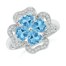 2.56ct Heart-Shaped Swiss Blue Topaz Clover Ring in Gold Size 3-13 - $1,295.10