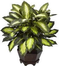 Nearly Natural 6720 Triple Golden Dieffenbachia Plant with Wood Vase, Green - $69.17