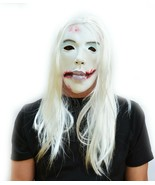 Creepy Dead Girl Halloween Mask with Hair Costume Mask White Ghost The Ring - $16.31