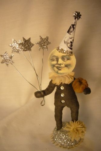 Vintage Inspired Spun Cotton , Full Moon Man Halloween