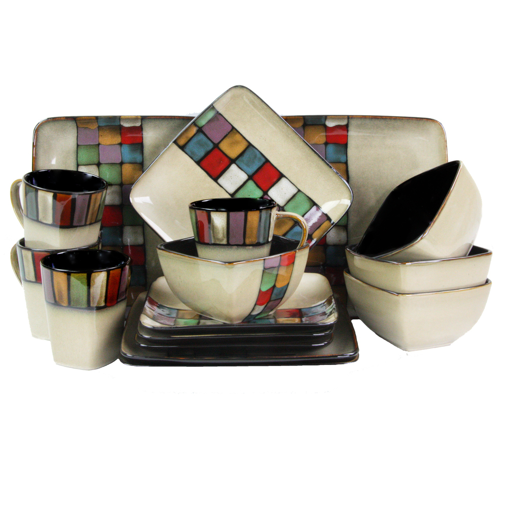 Elama Color Melange 16 Piece Multicolored Square Stoneware Dinnerware Set