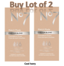 No7 Cool Ivory Match Made Custom Blend Foundation Drops 15ml Lot of 2 New  - $14.50