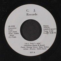 DAHLE SCOTT: Glorious Day / All That I Ask 45 (cool record) Jazz - $12.00