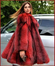 Red Hair Fox Faux Fur Hip Coat Jacket image 3