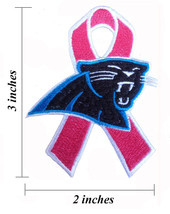 Carolina Panthers Breast Cancer Awareness Ribbon Embroidered Iron On Patch. - $1.20