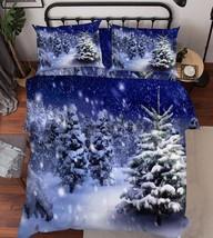 3D Snowing Trees Bed Pillowcases Quilt Duvet Cover Set Single Queen King Size AU - $64.32+