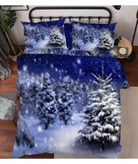 3D Snowing Trees Bed Pillowcases Quilt Duvet Cover Set Single Queen King... - $64.32+