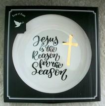 """Jesus Giving Plate 10"""" Serving Platter Gold Cross Housewarming Hostess G... - $22.76"""