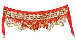 Women Belly Dance Golden Coins Hip Scarf - $21.94