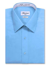 Berlioni Italy Men's Slim-Fit Premium French Convertible Cuff Solid Dress Shirt image 14