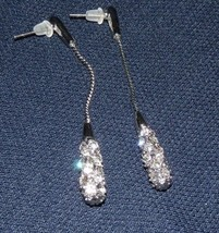 Made with Swarovski Elements Platinum Plated Pierced Earrings Drop Dangl... - $13.95