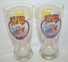 2 1978 Ramblin Raft Race Chattahoochee Beer Glass Atlanta Georgia Budweiser - $19.79