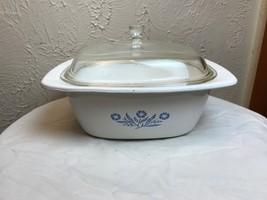 RARE Vintage Corning Ware BLUE CORNFLOWER Casserole 4 Quart Pyrex Lid P-... - $28.01