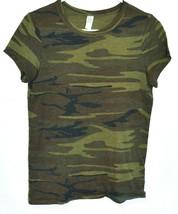 Alternative Earth Women's Green Camo Ideal True Crew Neck T-Shirt Size S
