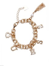 NWT Guess Gold Metal-Clear Stones Letters GUESS... - $21.77