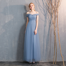 Bridesmaid Dress Off Shoulder Sweetheart Tulle Empire Dress Floor Length Wedding