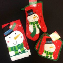 Holiday SNOWMAN HAND TOWEL POT HOLDER OVEN MITT Christmas Kitchen Decora... - $9.87