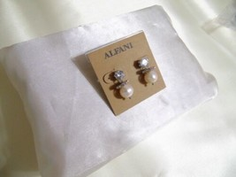 "Alfani 7/8"" Silver Tone Crystal /Kiska Pearl Drop Earrings E948 $28 - $10.54"