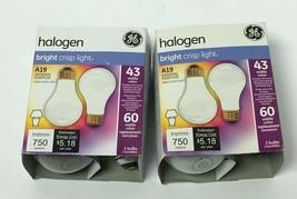 Ge Lighting Halogen Bright Crisp Light A19 General Purpose BULBS(2) 43WATTS - $7.91