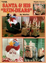 """Santa & His """"Rein-Dears"""" in Plastic Canvas Tissue Box Coasters Ornaments... - $7.50"""