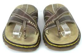 Dr Martens Brown Leather Slide Sandals Thong Flip Flops Womens Size US 5... - $24.74