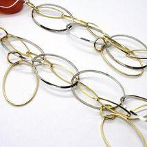 Halskette Silber 925, Karneol Oval Gewellt, Doppel Kette, Lang 110 CM image 5
