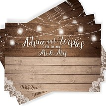 Printed Party 50 Rustic Wedding Advice Cards and Well Wishes - $17.46