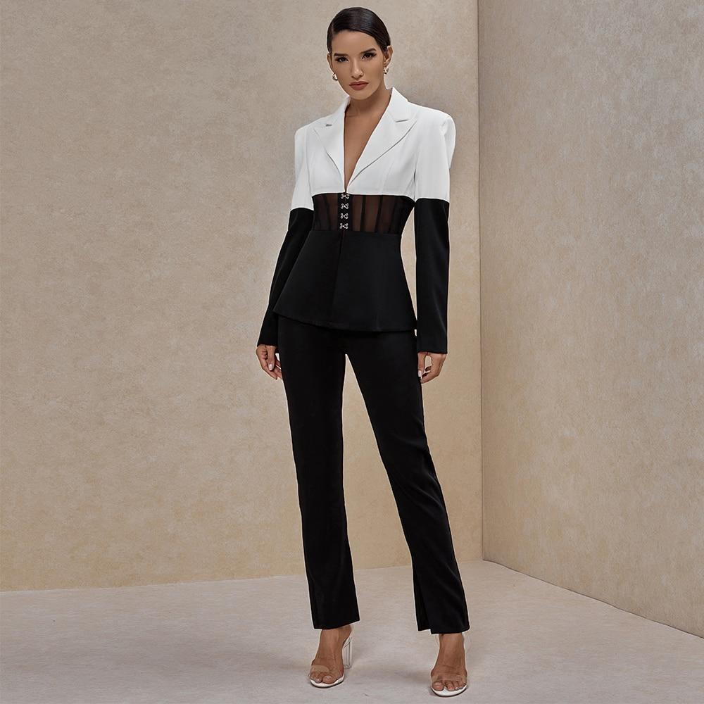 Ocstrade two piece set women suit blazer and pants club two piece outfits runway clothes 2020