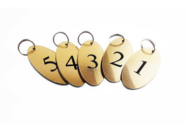 Pack of 5 Key Fobs, key Rings, key Tags - Numbered Numbers 1 to 5 Gold, ... - $19.08