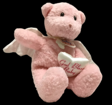 "New Baby Gund Plush God Bless Baby 11"" Pink Angel Teddy Bear Plushie Ang... - $19.79"